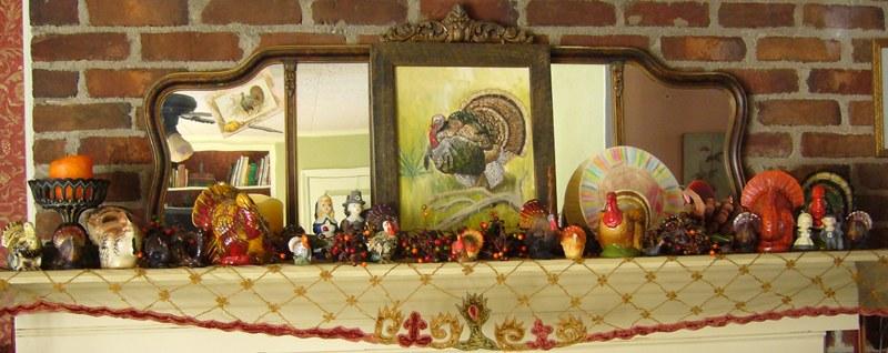 Thanksgiving Mantle of Vintage Turkeys