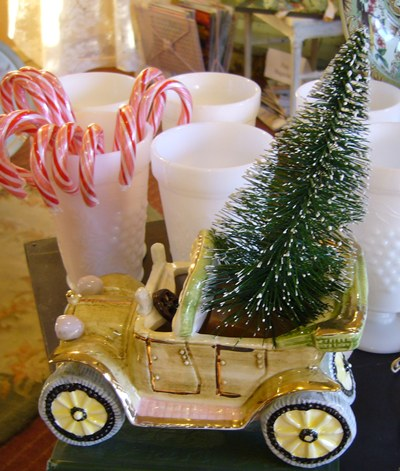 Car Planter and Christmas Tree