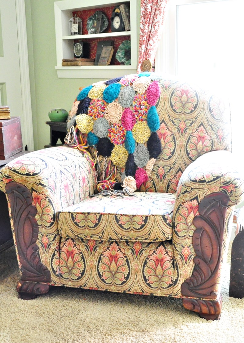 Using a Betsy Johnson shawl as a throw for a chair.