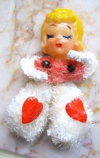 Vintage Chenille Valentine Girl