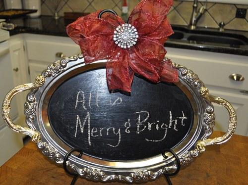 Silver Platter Christmas Chalkboard