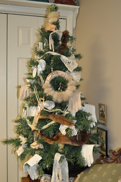 Christmas tree with furs and hats