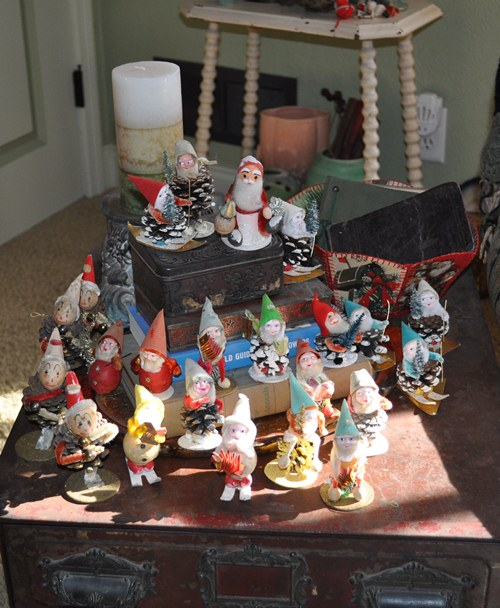 Collection of vintage pine cone elves