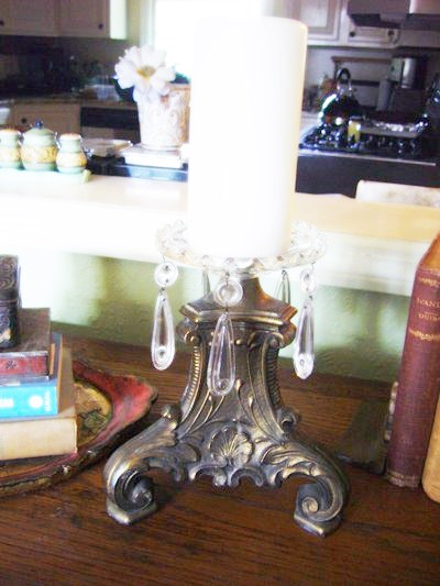 Skinny lamp base + bobeche = candle holder