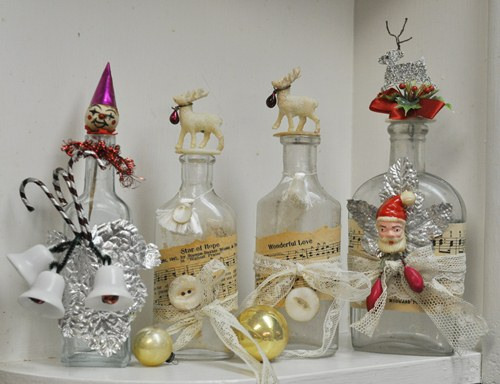 Decorated bottles for Christmas