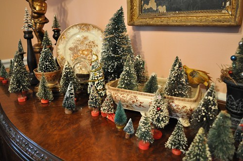 Vintage Bottle Brush Tree Forest