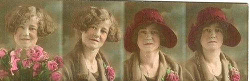 Free graphic ~ Color strip of photos of early century lady with roses
