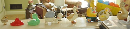 Decorating for Easter with vintage, Easter ducks in a parade.