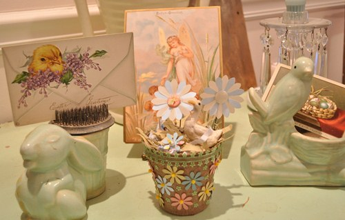 Decorating with vintage Easter post cards.