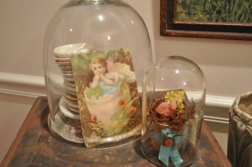 Easter decorating with cloches.