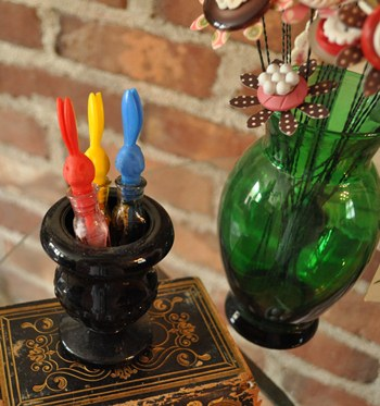 Decorating with vintage, glass, Easter egg, dye containers