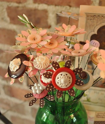 Hand made, punched flowers and buttons bouquet