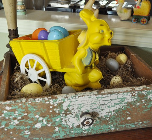Vintage, plastic Easter toy. Rabbit pulling wagon.