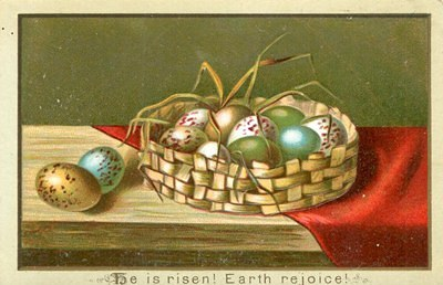Free Easter Graphic - A vintage post card showing Easter eggs in a basket. He Is Risen.