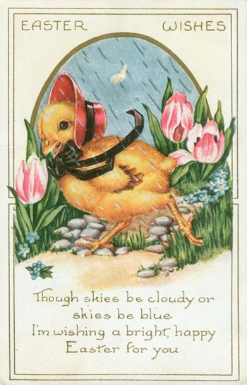 Free Easter graphic - Copy of an antique, Easter postcard showing a chick running through the rain.