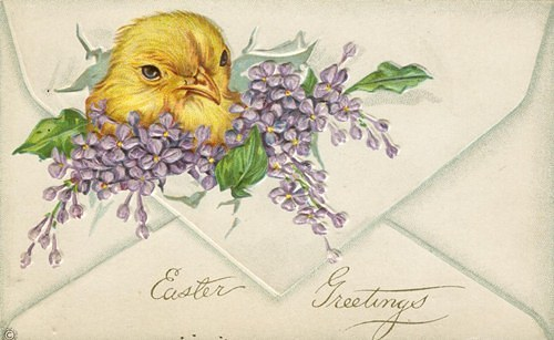 Free Easter Graphic - Copy of vintage Easter postcard depicting a chick on an envelope.