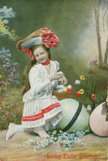 Free Easter graphic. A copy of an antique, Easter postcard of a young girl in her Easter finery.