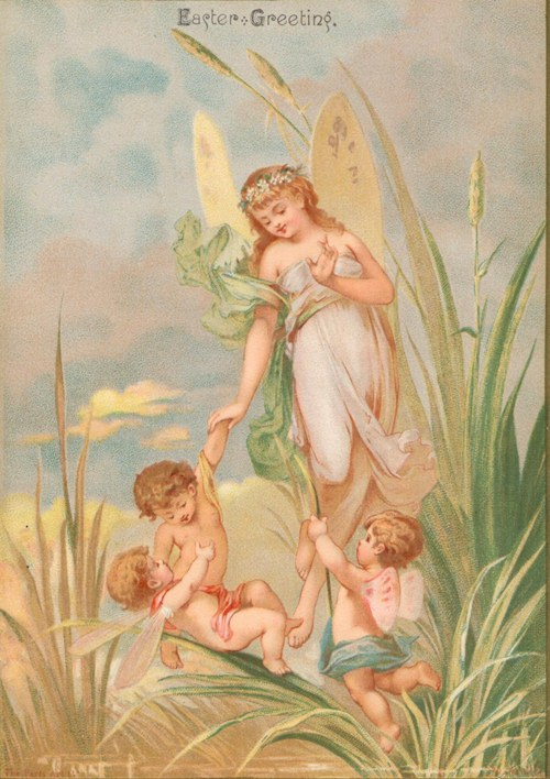 Free Easter graphic. A copy of an antique, Easter postcard showing an angel and children.