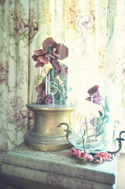 Velvet flowers under a cloche