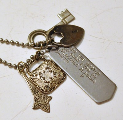 Dog Tag and Charms Necklace