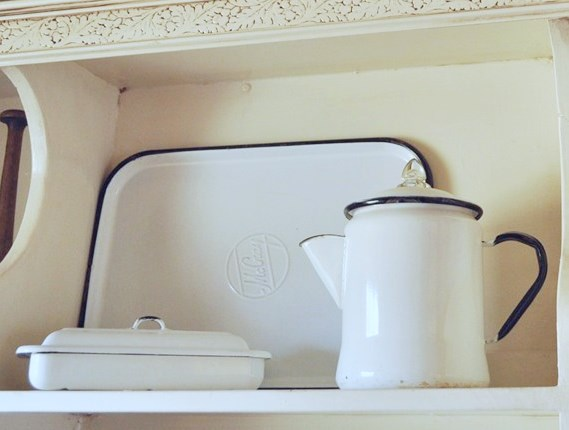 White enamelware with black trim