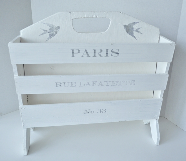Painted Magazine Rack With Graphic Transfer