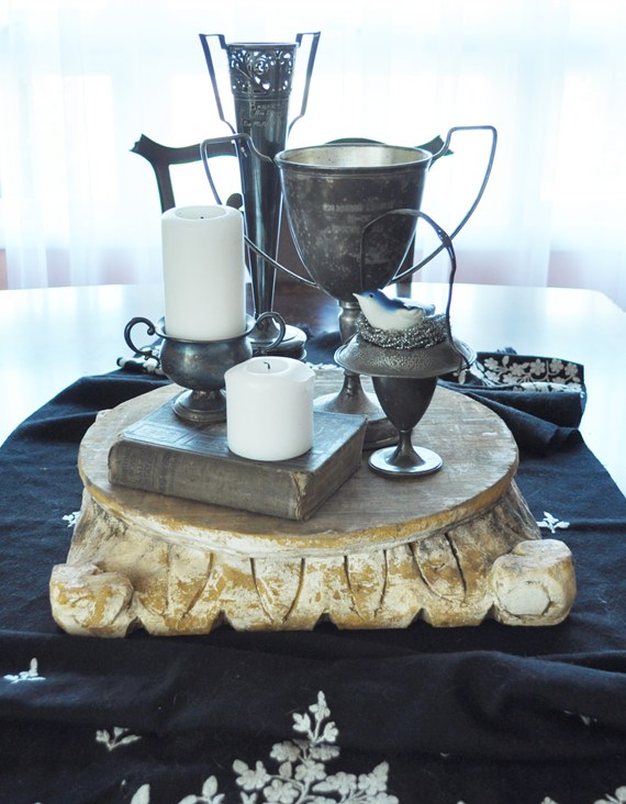 Architectural column base as table centerpiece: Just Vintage Home