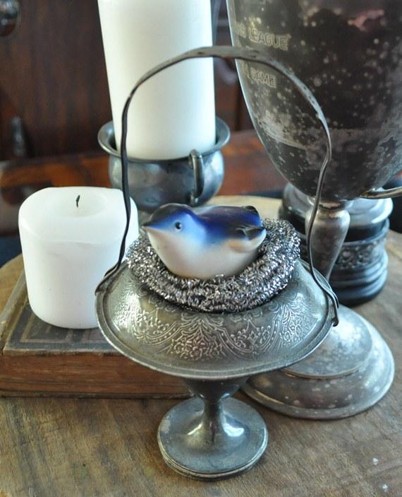 Silver pot scrubber bird's nest: Just Vintage Home