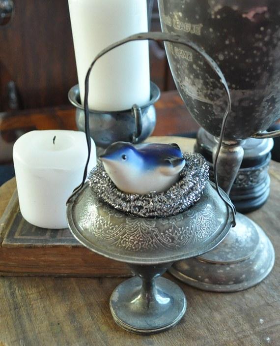 Silver pot scrubber bird's nest: Just Vintage Home
