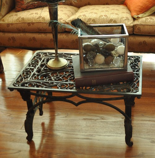 Sewing machine base and metal floor mat coffee table