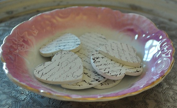 French script stamped chipboard hearts: Just Vintage Home