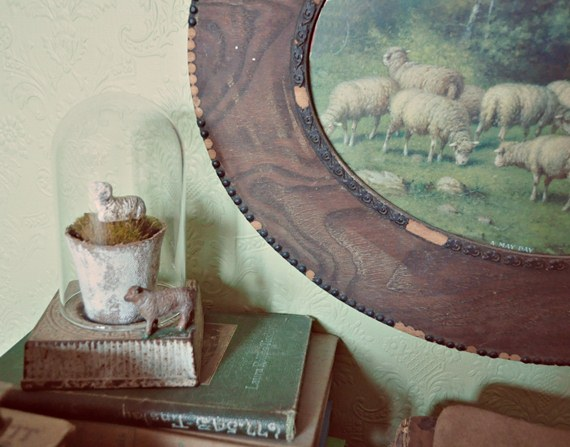 Decorating with books and sheep - Just Vintage Home
