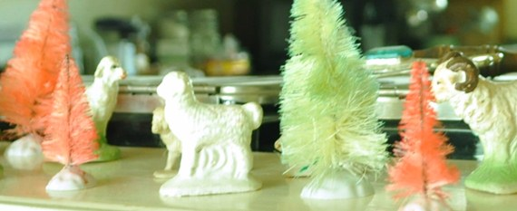 Dyed Bottle Brush Trees and Sheep