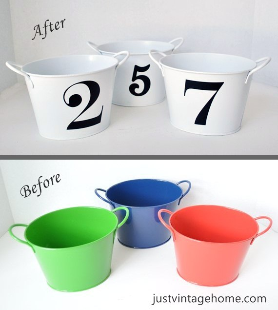 Dollar Tree Buckets to Chic Decor : Just Vintage Home
