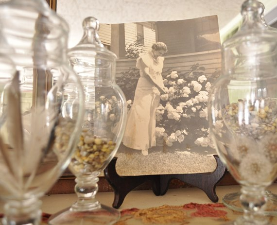 Picture of lady with hydrangeas : Just Vintage Home