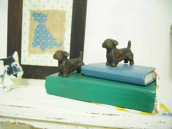 Scottie dogs on shelf in nursery : Just Vintage Home