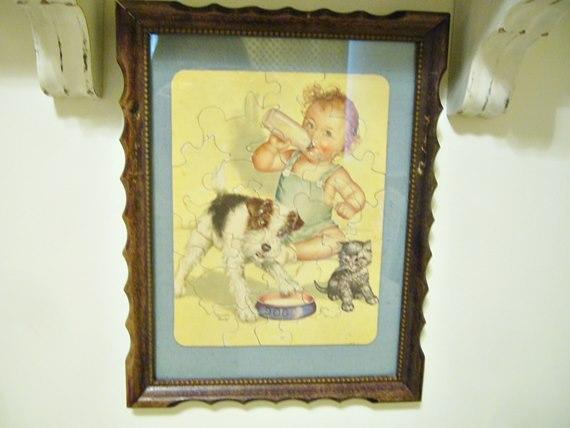 Framed Vintage Baby Puzzle : Just Vintage Home