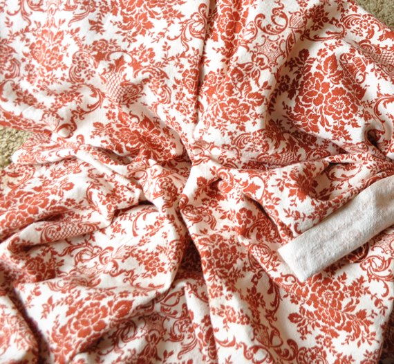 Vintage red print fabric
