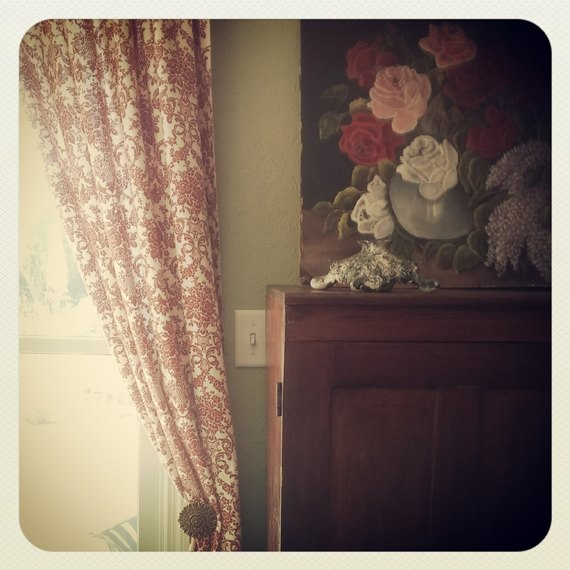 Drapes and floral painting