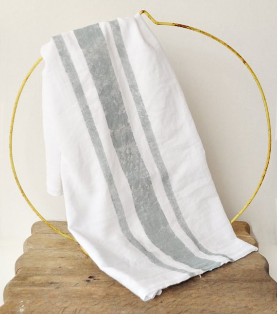 French stripe flour sack tea towel