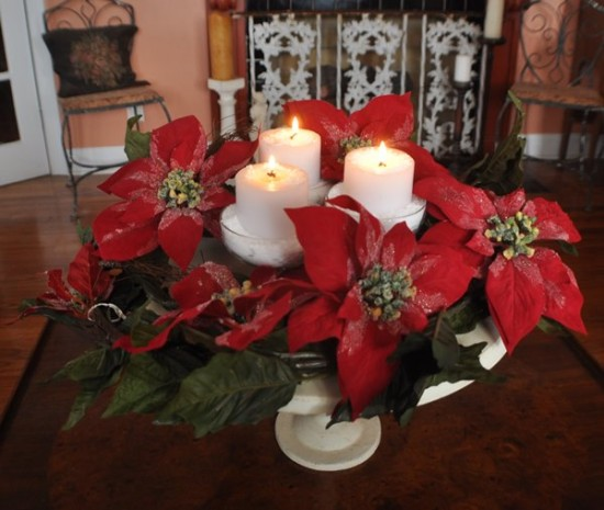 Sherbert Candle Poinsettia Centerpiece