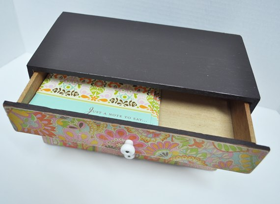 Paper covered drawers in a small box