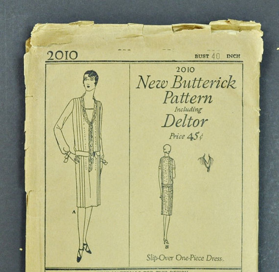 1920's Flapper Dress Sewing Pattern – Drop Waist – Butterick  2010 – 40″ Bust