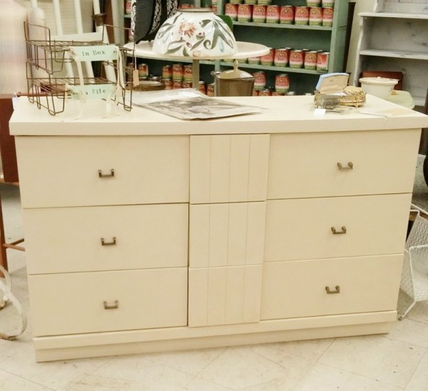 Mid Century Modern Dresser in General Finishes Milk Paint Linen