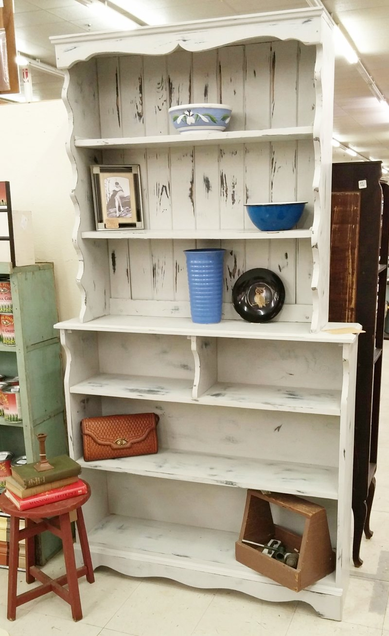 Distressed, gray hutch painted in General Finishes Seagull Gray
