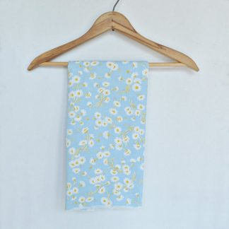 Blue with Daisies Vintage Flour Sack Material