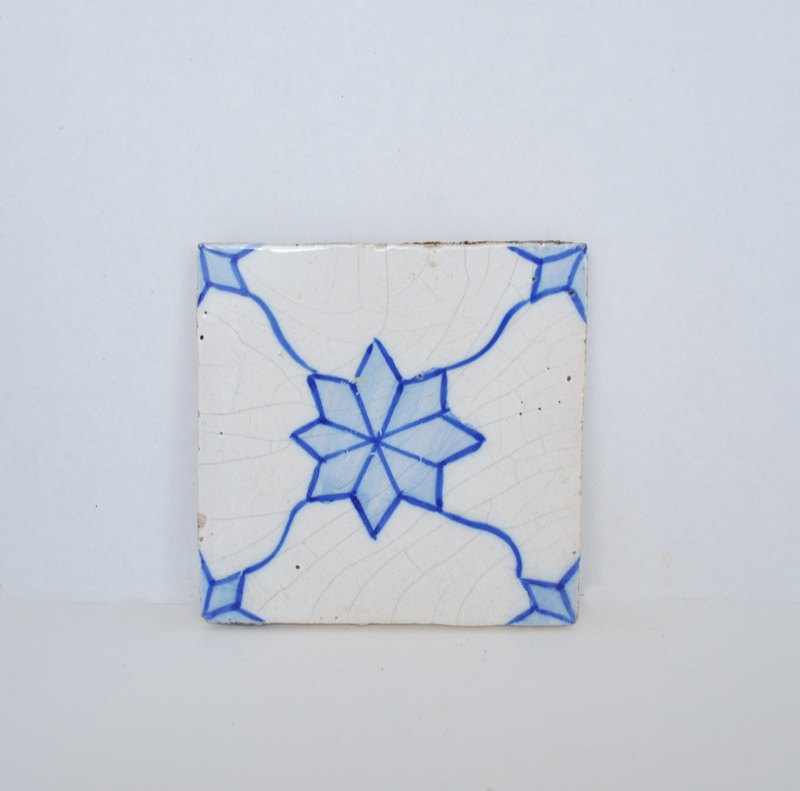Hand Painted Blue and White Vintage Decorative Tile