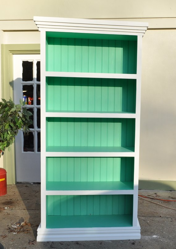 Bookcase using General Finish Milk Paint mix of Emerald, Patina and White