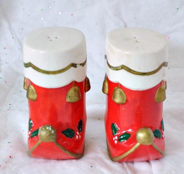 Santa Boots Salt and Pepper Shakers