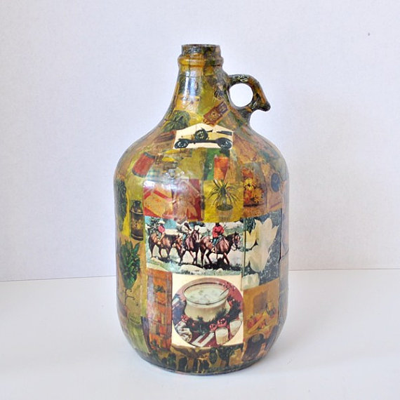 Vintage Decoupage Memory Jug from the 1960s